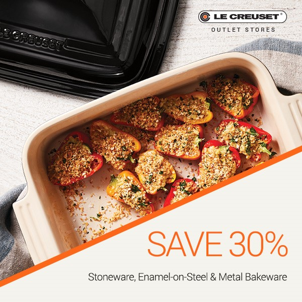30% off stoneware, EOS, and metal bakeware