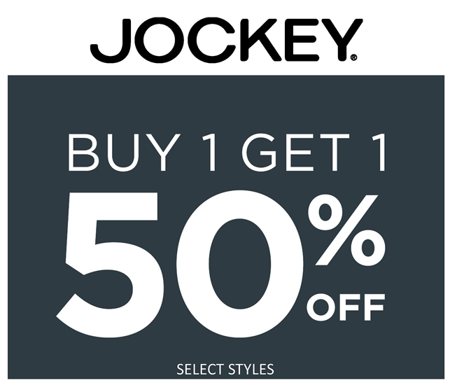 Jockey BOGO 50 Percent off!